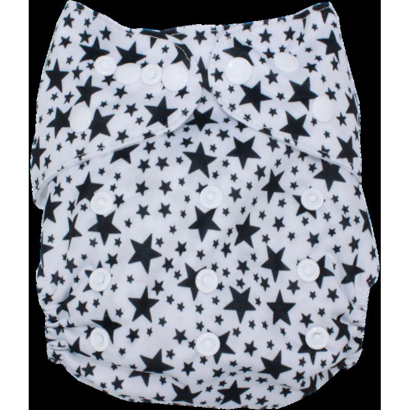 Schwimmwindel Muster - STERN schwarz / weiß