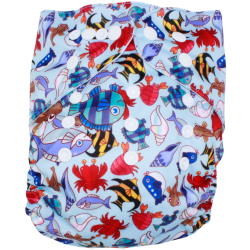 Schwimmwindel Muster - Fisch hellblau