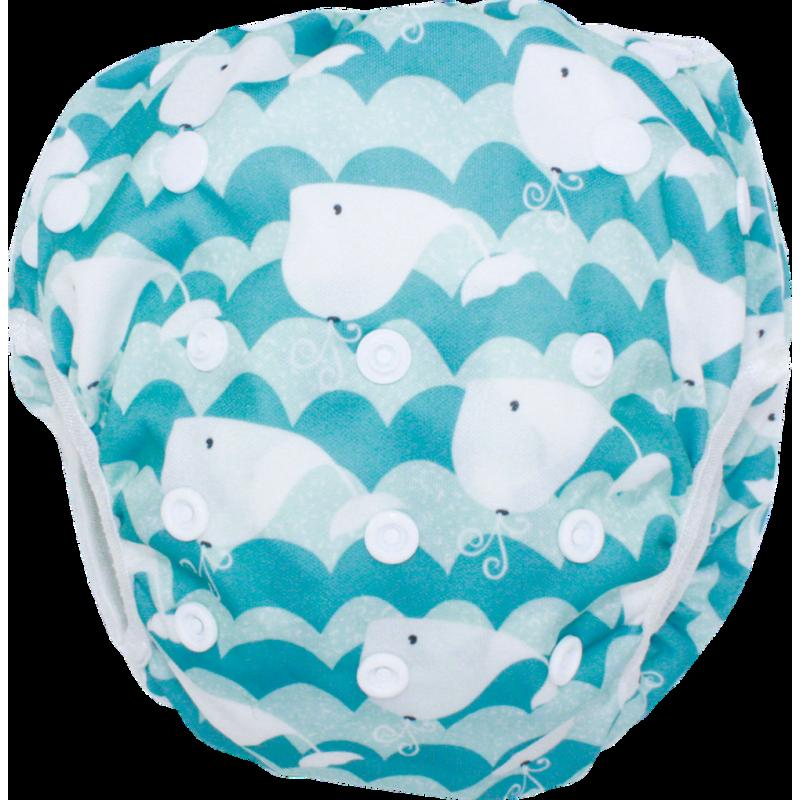 Schwimmwindel Muster - WAL hellblau
